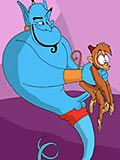 Genie rips open his lovers shirt