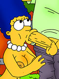 Marge Simpson with plump nipples gets gangbang and gets covered in cumload