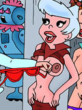 Jane Jetson sucking on George Jetson before getting her cunt plugged