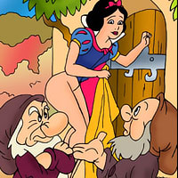 Princess Snow White with huge dildo squeezing her double d melons and getting nailed hot