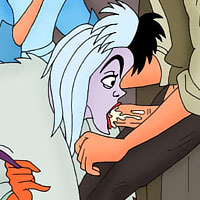 Cruella getting her beautiful tits pushed and getting penetrated by Captain