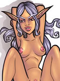 Ravishing Rogue with curvy body getting nailed by Tauren and cummed all over her soft boobies in the park
