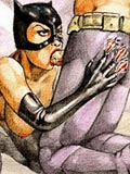 Cat woman with juicy bust getting naked and drilled by Batman