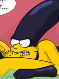 Tied up Marge Simpson swallows dick before gets fondled