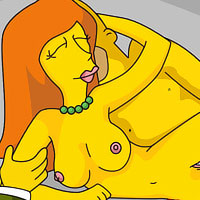 Perverted Marge Simpson with beautiful boobs gets penetrated by soft wang