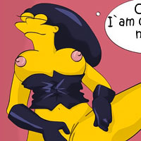 Marge Simpson with perfect breasts strips naked under the desk
