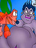 Ursula was slammed by Triton and fills throat with sperm