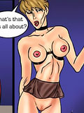 Horny Aeon Flux watching sex tape and getting jizz facial