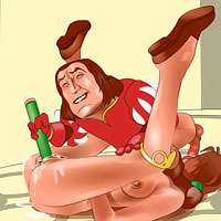 Lord Farquaad gets sucked hard from behind by penis and gets off