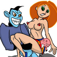 Sexy Kim Possible sucks on throbing penis and squirts cum