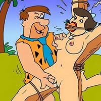 Pebbles in bikkini licks Fred Flintstone