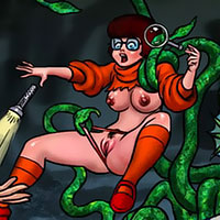 Velma got pumped between her titties and drenched with sperm