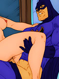 Sexy Ellen Yin with blue double ended dildo taking on unlucky Batman and getting fucked hard to climax