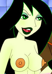 Sexy and unlucky Shego plays with booty and massages Jim and Tim Possible's meat penis