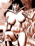 Vampirella with incredible nipples gets nailed and cummed all over her body for the first time