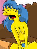 Marge gets nailed by tied wang and squirts hole juice