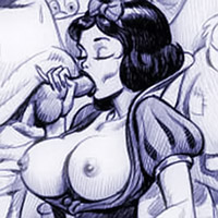 Smashing Princess Snow White gets her slit drilled by Slave of the Magic Mirror's dick