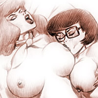 Tender Velma Dinkley gets assreamed by penis and takes load of cum on her face in the bed room